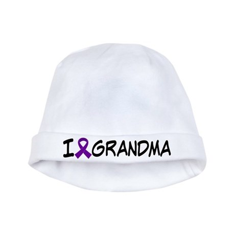 Purple Ribbon Alzheimer's I Love Grandma Baby Hat