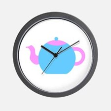 Blue and Pink Teapot Wall Clock