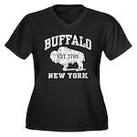 Buffalo New York Women's Plus Size V-Neck Dark T-S