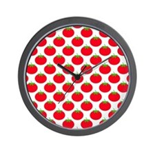 Red Tomato Pattern Wall Clock