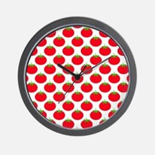 Red Tomato Pattern Wall Clock