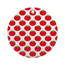 Red Tomato Pattern Ornament (Round)
