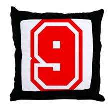 Varsity Uniform Number 9 (Red) Throw Pillow