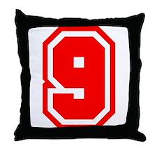Varsity Uniform Number 9 (Red) Throw Pillow