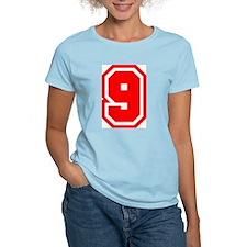 Varsity Uniform Number 9 (Red) Women's Pink T-Shir
