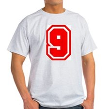 Varsity Uniform Number 9 (Red) Ash Grey T-Shirt