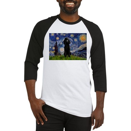 Starry Night Black Poodle Baseball Jersey
