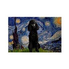 Starry Night Black Poodle Rectangle Magnet