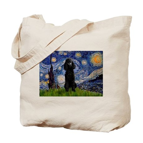 Starry Night Black Poodle Tote Bag