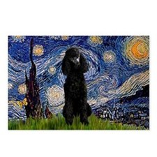 Starry Night Black Poodle Postcards (Package of 8
