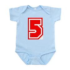 Varsity Uniform Number 5 (Red) Infant Creeper