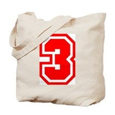 Varsity Uniform Number 3 (Red) Tote Bag