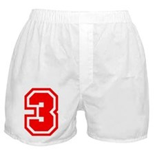 Varsity Uniform Number 3 (Red) Boxer Shorts