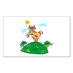 Cute Carnation Cow Rectangle Sticker