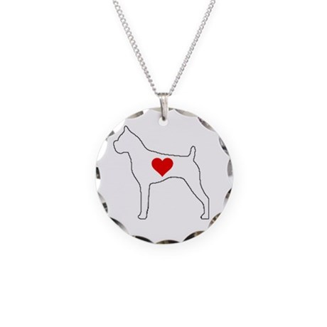 Boxer Heart Necklace Circle Charm