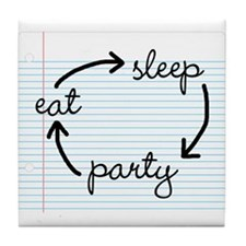 'Eat Sleep Party' Tile Coaster