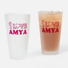I Love Amya Drinking Glass