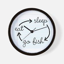'Eat Sleep Go Fish' Wall Clock