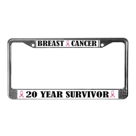 Breast Cancer 20 Year Survivor License Frame