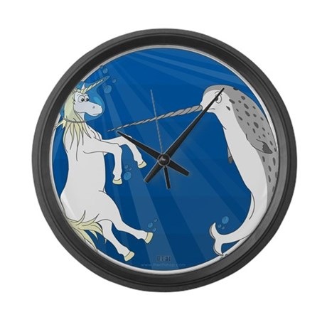 Unicorn Meets Narwhal Large Wall Clock