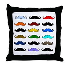 COLORFUL MOUSTACHE Throw Pillow
