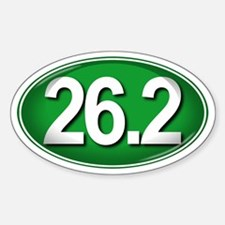 26.2 GREEN Marathon Sticker (Oval)