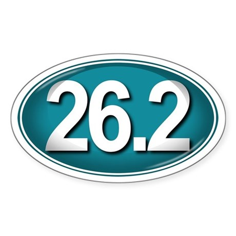 26.2 TEAL Marathon Sticker (Oval)