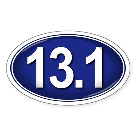 13.1 BLUE Marathon Sticker (Oval)