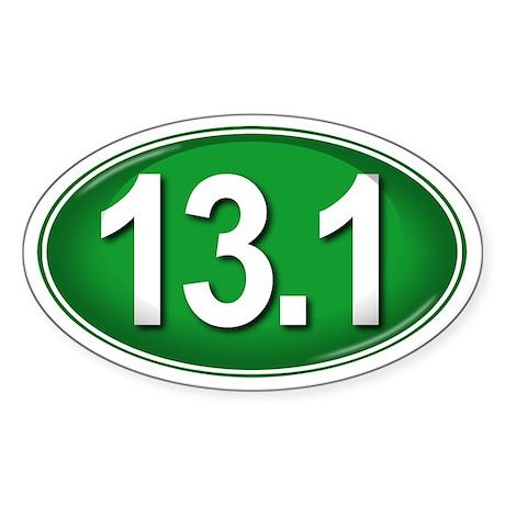 13.1 GREEN Marathon Sticker (Oval)