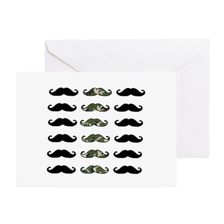 CAMO MOUSTACHE Greeting Card