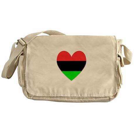 African American Flag Heart Messenger Bag