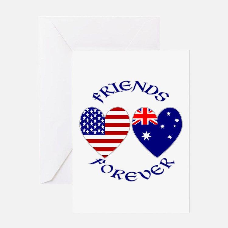 Australia USA Friends Greeting Card