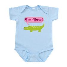 Baby Girl I'm Cute Alligator Infant Bodysuit