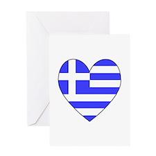 Greek Flag Heart Greeting Card