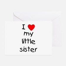 I love my little sister Greeting Cards (Package of