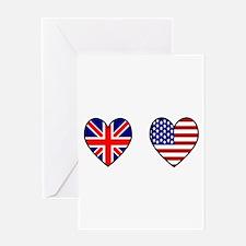 Union Jack / USA Heart Flags Greeting Card