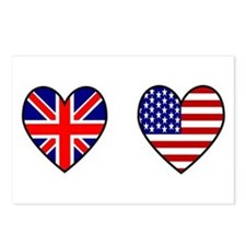 Union Jack / USA Heart Flags Postcards (Package of