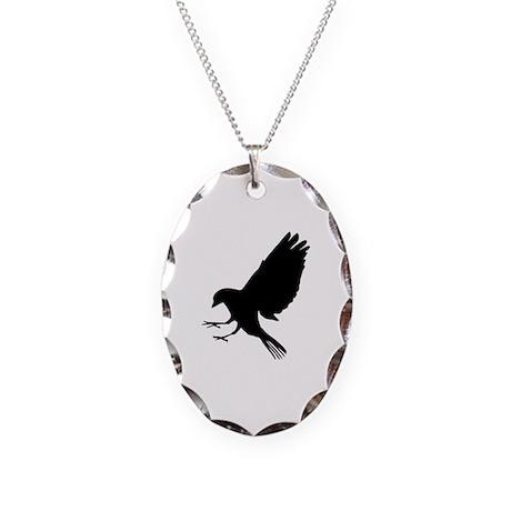 Bird Necklace Oval Charm
