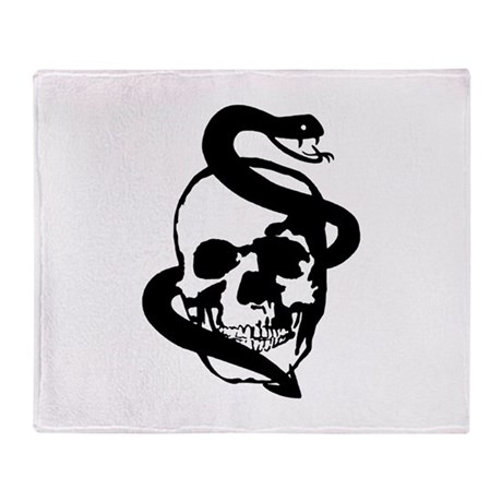 Skull Snake Throw Blanket