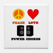 Peace Love Power Chords Tile Coaster