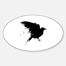 Grunge Bird Sticker (Oval)