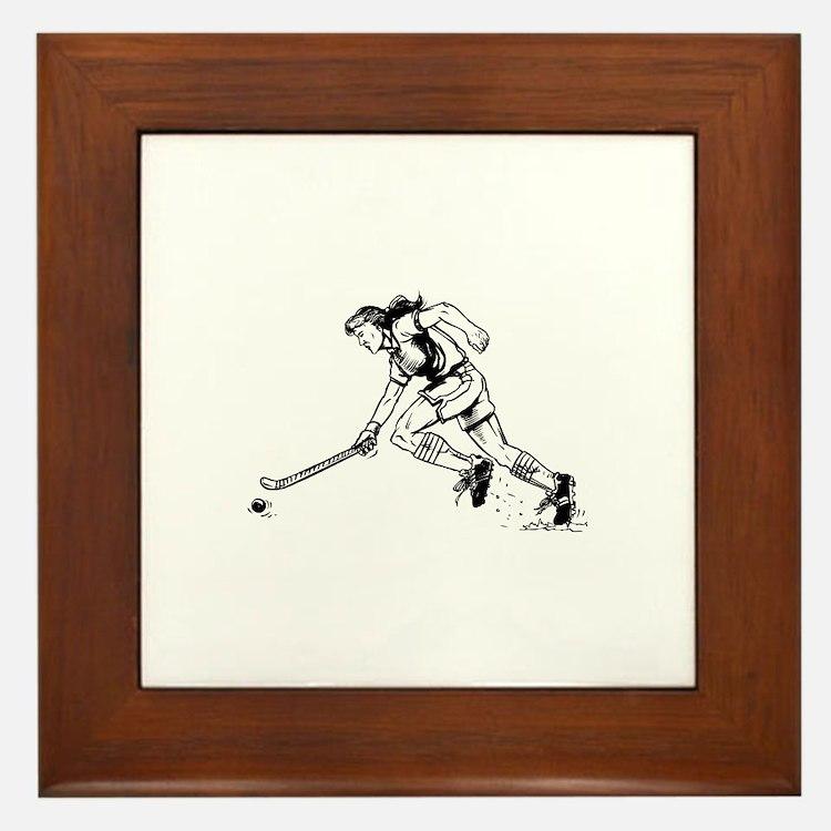 Cute Field hockey girl Framed Tile