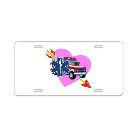 EMS Care Heart Aluminum License Plate