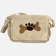 Dog Bone & Paw Print Messenger Bag