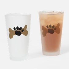 Dog Bone & Paw Print Drinking Glass