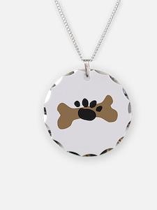 Dog Bone & Paw Print Necklace Circle Charm