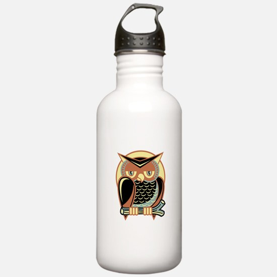 Retro Owl Sports Water Bottle