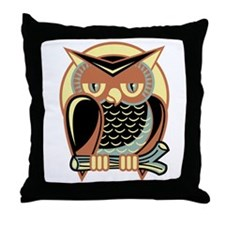 Retro Owl Throw Pillow