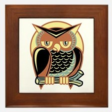 Retro Owl Framed Tile