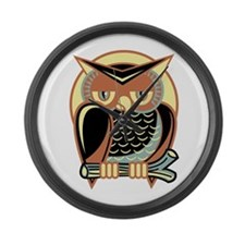 Retro Owl Large Wall Clock
